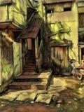 老家庭绘画 免版税库存图片