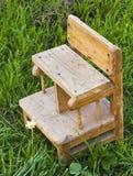 老小在草的一把婴孩椅子在庭院里 免版税库存图片
