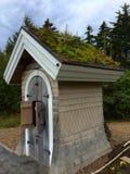 老小的房子绿色屋顶 库存图片