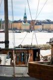 老小船在斯德哥尔摩 免版税库存照片