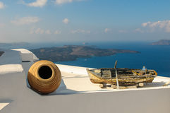 老小船在锡拉,圣托里尼海岛,希腊 库存照片