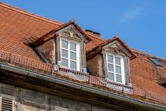 老屋顶窗 库存图片