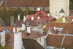 老屋顶s塔林城镇 免版税库存图片