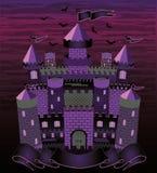 老巫婆被困扰的城堡卡片 免版税库存照片
