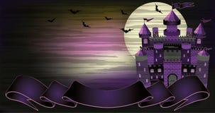 老巫婆被困扰的城堡横幅 库存图片