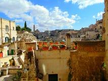 老市的看法马泰拉 免版税库存图片