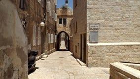 老市的空的街道耶路撒冷 免版税库存照片