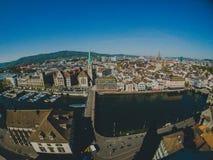 老市的顶视图苏黎世 库存图片