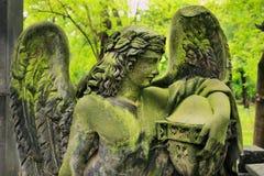 从老布拉格公墓的历史的天使,捷克 免版税库存图片