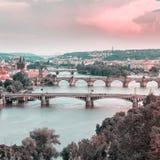 老布拉格的全景从Letna公园的,捷克 库存图片