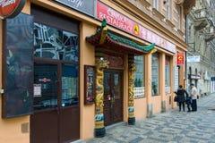 老布拉格街道。中国餐馆。 库存图片