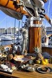 老帆船在马赛旧港口靠了码头  库存照片
