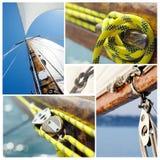 老帆船设备拼贴画-葡萄酒样式 免版税图库摄影