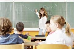 老师和学生教训的 图库摄影