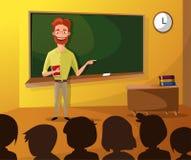 老师教的学生在教室,世界书天,回到学校,文具,书,孩子,与老师的类 向量例证