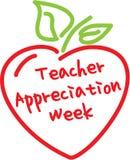 老师欣赏星期苹果心脏 免版税库存图片