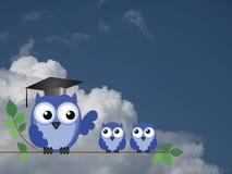 老师猫头鹰和学生 免版税图库摄影