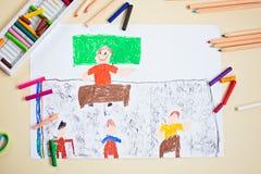 老师蜡笔画学校课程的 免版税图库摄影