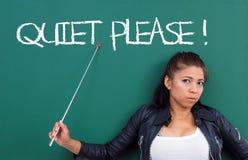 老师请求不少安静的时刻! 免版税库存图片