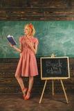 老师阅读书在教室 俏丽的妇女是回到学校和阅读书在黑板 可爱和天才 库存图片