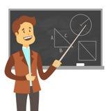 老师,站立在空白的学校黑板传染媒介例证前面的教授 在黑板附近的学校男老师 免版税库存图片