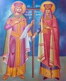 从老希腊东正教的圣徒康斯坦丁和海伦壁画 库存照片