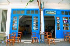 老希腊咖啡馆,克利特 免版税库存图片