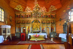 老希腊天主教徒教会内部 库存图片