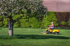 老年人骑马割草机在庭院里 免版税库存照片