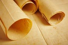 老年迈的空白滚动的羊皮纸 古色古香的文件 葡萄酒人 免版税图库摄影