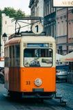 老废弃的古色古香的电车在比得哥什 免版税库存照片