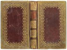老开放书-皮革盖子-大约1895 免版税库存照片