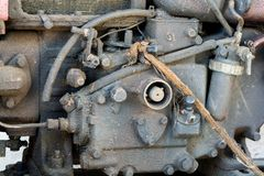 老引擎和对尘土的大量用途 免版税库存照片