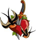老弯曲的匕首刀子穿甲的详细的手拉的例证通过心脏 图表守旧派纹身花刺样式艺术 皇族释放例证
