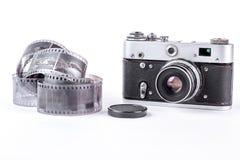 老影片磁带和照相机 免版税库存照片