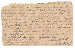 老德国手写-大约1881 免版税库存照片
