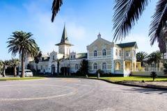 老德国殖民地大厦在斯瓦科普蒙德,纳米比亚 库存照片