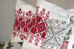 老德语被绣的枕头 库存照片