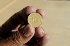 老德语10普芬宁和50波兰波兰钱币 免版税库存照片