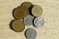 老德语10普芬宁和50波兰波兰钱币 图库摄影