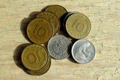 老德语10普芬宁和50波兰波兰钱币 免版税图库摄影