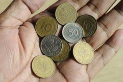老德语10普芬宁和50波兰波兰钱币 库存照片