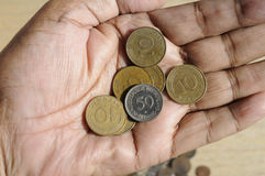 老德语10普芬宁和50波兰波兰钱币 免版税库存图片