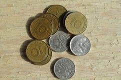 老德语10普芬宁和50波兰波兰钱币 库存图片