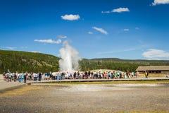 老忠实的喷泉在黄石 免版税图库摄影