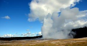 老忠实的爆发在黄色石国家公园 免版税库存照片