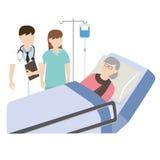 老患者在与医生和护士的医院病床上 库存照片