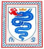 老意大利徽章骑士定货的,米兰,意大利 库存图片