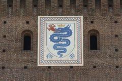 老意大利徽章骑士定货的,米兰,意大利 免版税库存照片