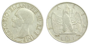 老意大利语一枚里拉硬币1941年 库存图片